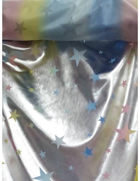 Licra laminado plata estrellas