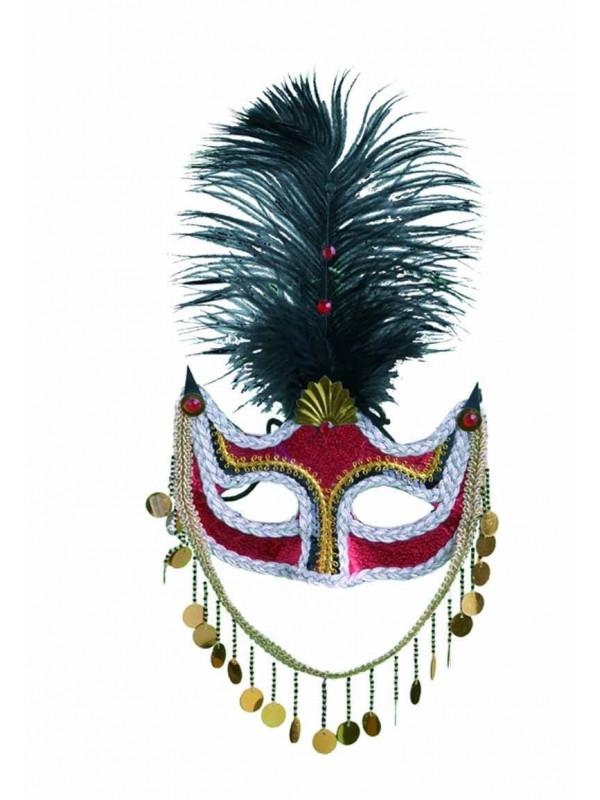 Antifaz veneciano plumas y medallas
