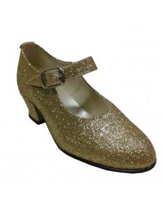 Zapato princesa glitter oro