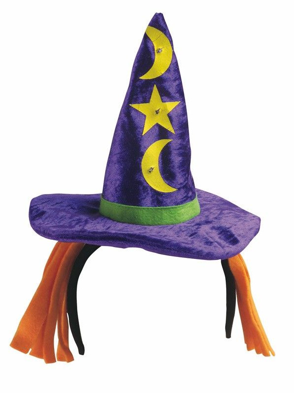 Diadema con sombrero bruja con luz