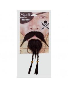 Perilla y bigote de trenzas pirata