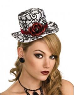 Sombrero mini blanco negro con rosas