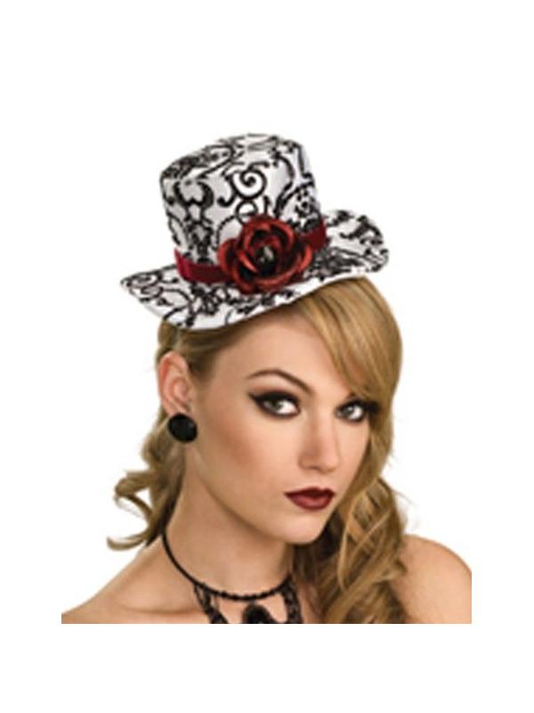 Sombrero mini blanco y negro con rosas