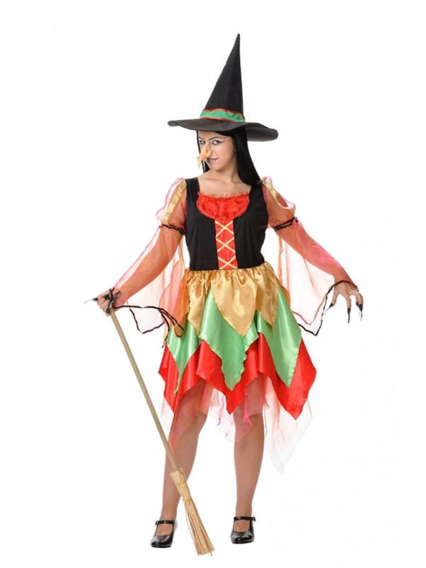 Disfraz de bruja de colores