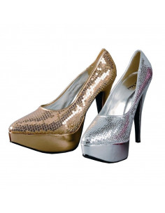 Zapato lentejuelas dorado plataforma