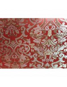 Tejido de raso rojo brocado