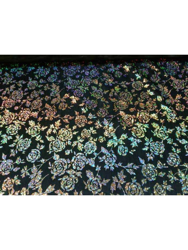 Tela estampada de flores en tejido de punto