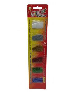 Glitter escolar blister 6 colores