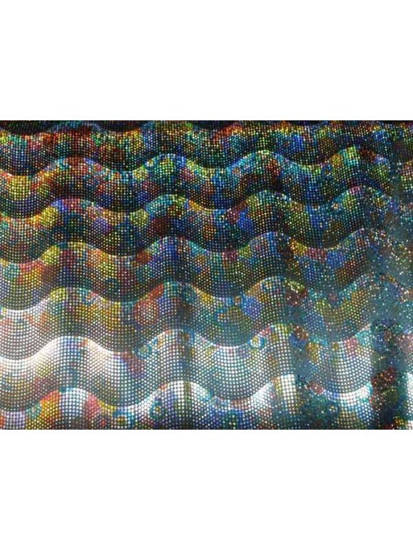 Tela de punto brillante negra estampado olas