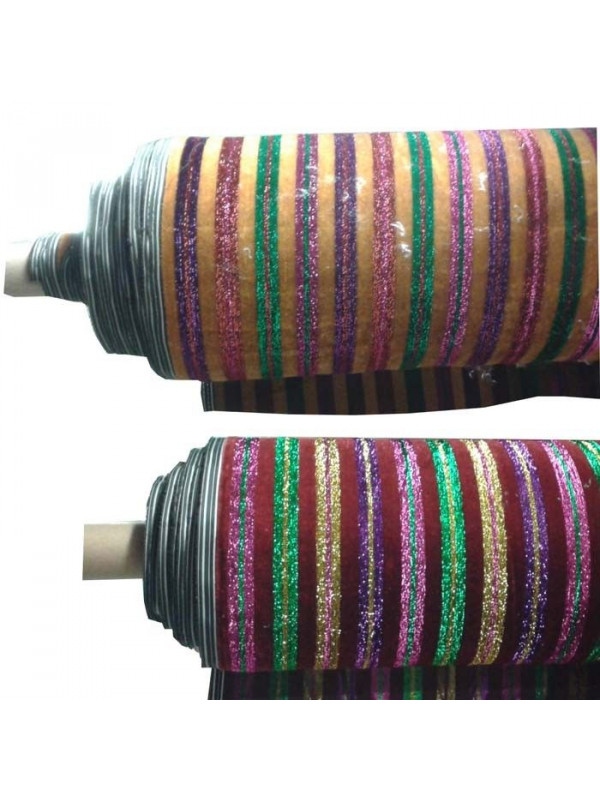 Tela de terciopelo con rayas de colores
