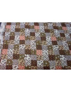 Tejido cuadro marron patchwork