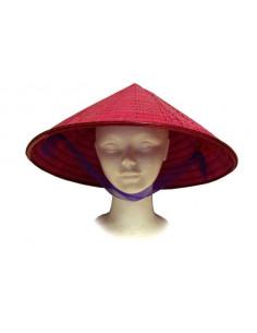 Sombrero chino bambú rosa