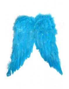 Alas azules de plumas