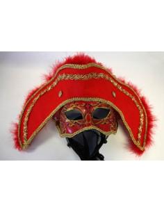 Máscara veneciana Casanova roja