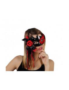 Máscara negra con flor y lazos