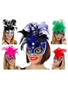 Máscara lentejuelas y plumas