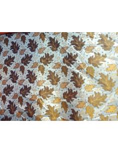 Tejido raso brocado con hojas