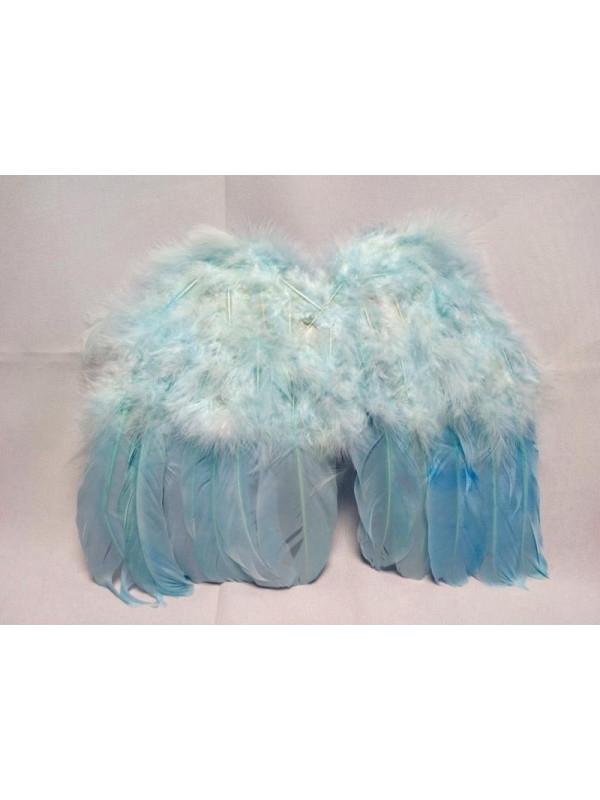 Alas con plumas bebé azul