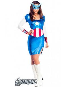 Disfraz Capitán América Deluxe para mujer