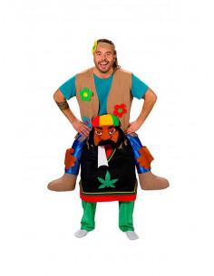 Disfraz a hombros de hippie sobre rastafari