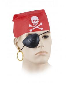 Pañuelo pirata con parche y pendiente