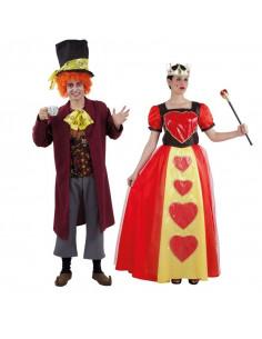 Disfraz en pareja de Sombrero Loco y Reina de Corazones