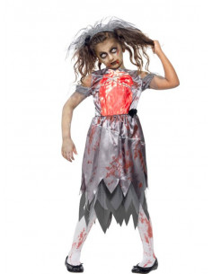Disfraz zombie novia para niña