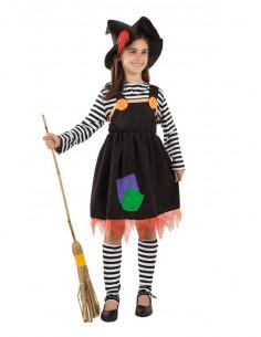 Disfraz de bruja a rayas para niña