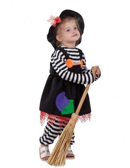 Disfraz de brujita a rayas para bebe