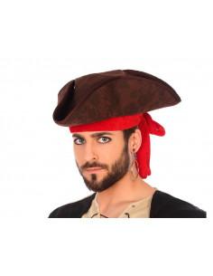 Sombrero pirata marrón tres puntas
