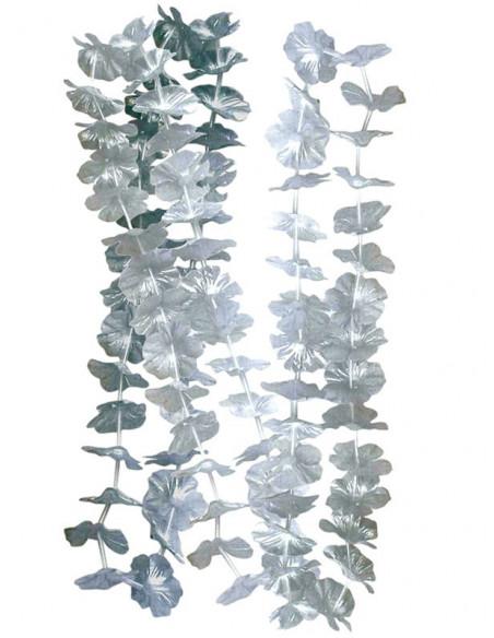 Collar flores metalizadas plata