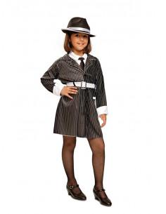 Disfraz de gángster mafiosa para niña