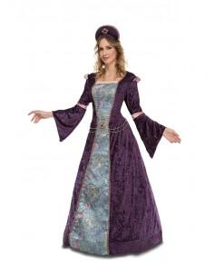 Disfraz de doncella morada mujer