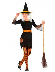 Disfraz de bruja naranja para mujer