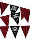Banderín con forma triangular y motivos piratas