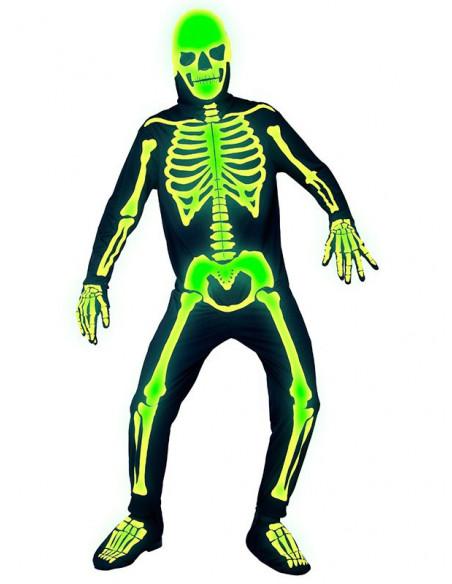 Disfraz de esqueleto que brilla para adulto brillante