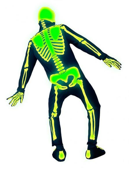 Disfraz de esqueleto que brilla para adulto trasera brillante