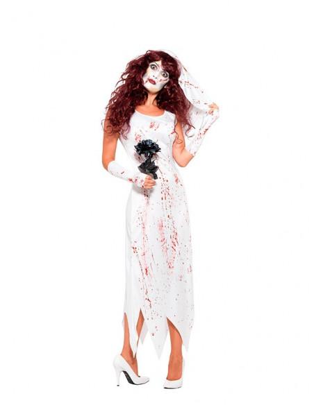 Disfraz de novia zombie para mujer frente