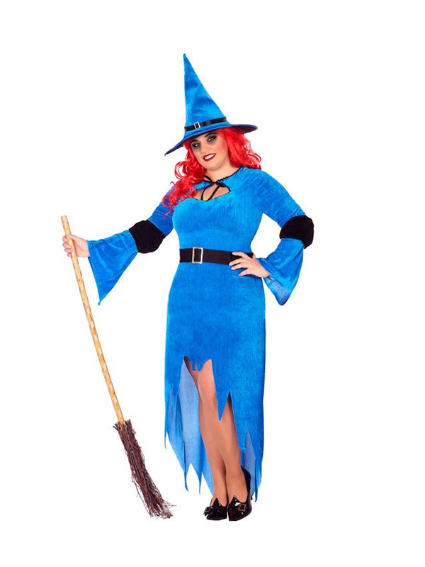 Disfraz de bruja azul talla grande