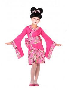 Disfraz geisha rosa para niña