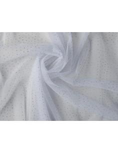 Tejido tul nylon con puntitos brillantes blanco