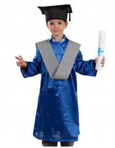 Toga graduación infantil azul