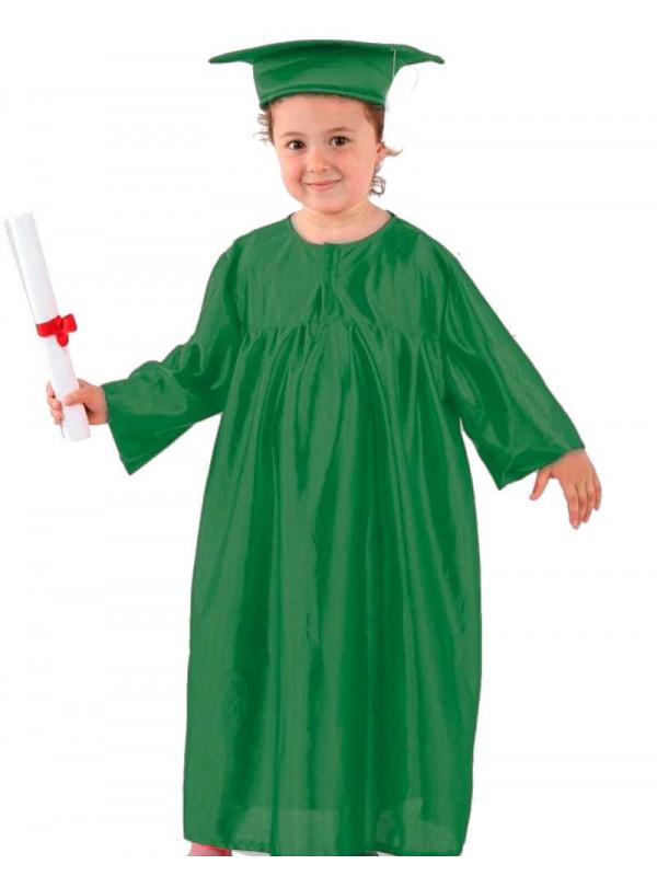 Toga graduación infantil verde