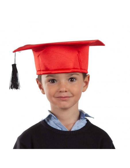 Birrete graduado infantil rojo