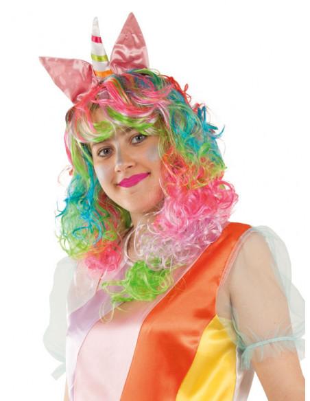 Peluca unicornio multicolor mujer