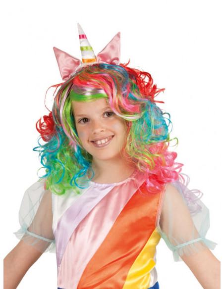 Peluca unicornio multicolor niña
