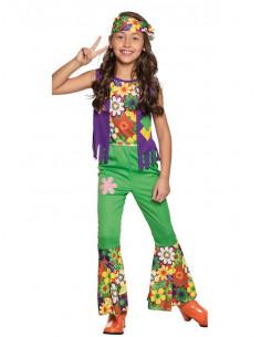 Disfraz hippie flores para niña