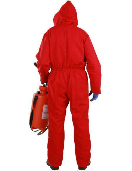 Mono rojo con capucha adulto