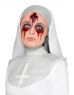 Herida cruz con sangre