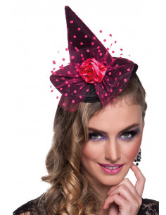 Mini sombrero de bruja rosa